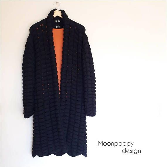 Hand knitted long cardigan Chunky sweater Knitted long