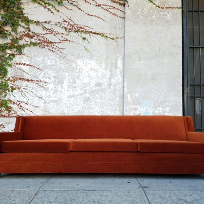 Los Angeles Orange Velvet Vintage Sofa