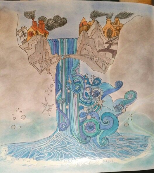 Waterfall From The Magical City By Lizzie Mary Cullen Coloured Joanne Watts Coloring BooksAdult