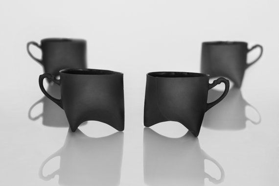 Black Porcelain cups set of four by ENDEceramics