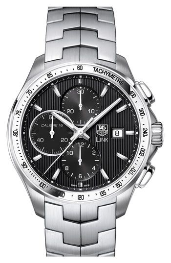 like the classic look of TAG Heuer  Calibre 16' Automatic Chronograph Watch. No bling please.