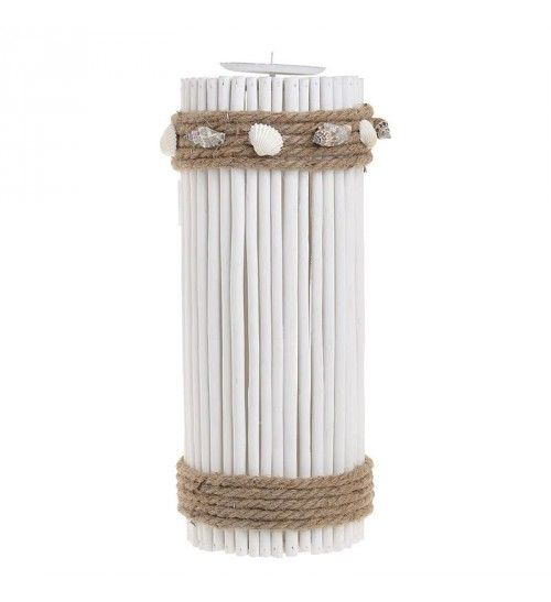 WOODEN_METAL CANDLE HOLDER W_SEASHELLS IN WHITE D13X34_5