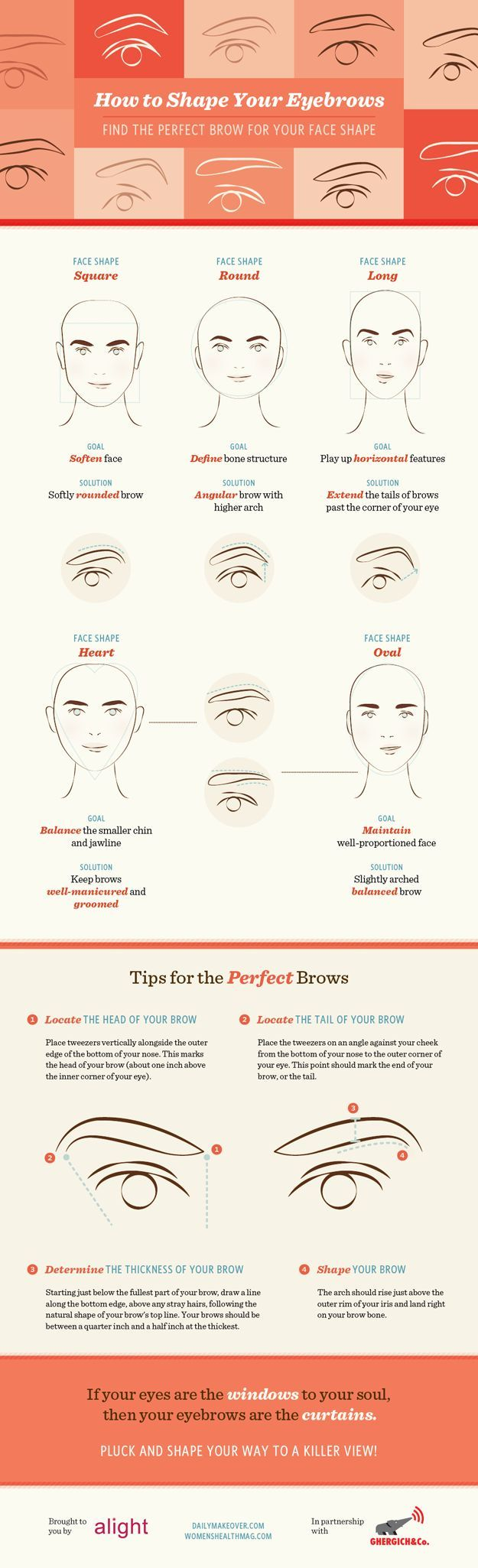 Eyebrow Tutorial: Finding The Right Brow Shape For Your Face | Beauty Tips And Tricks by Makeup Tutorials at  http://makeuptutorials.com/eyebrow-tutorial-finding-right-brow-shape-face/