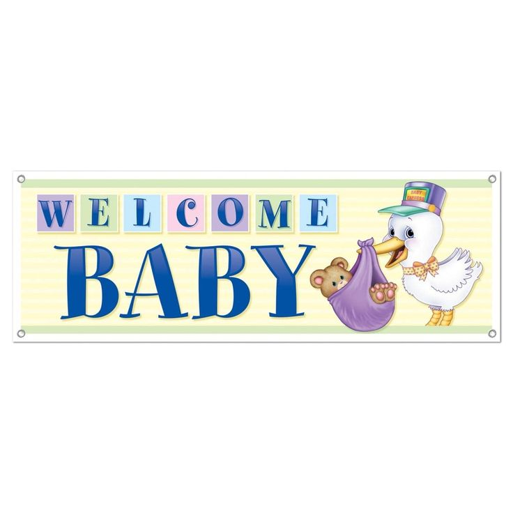 Club Pack of 12 Welcome Baby Sign Banner All-Weather 60, Blue