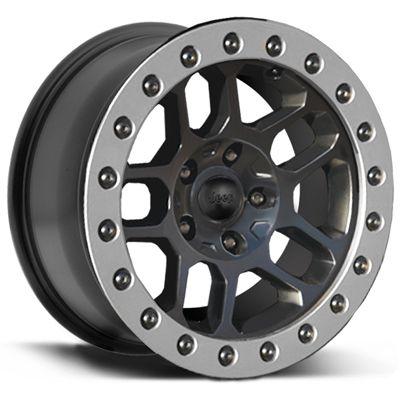 "MOPAR Hub Centric ""BEAD LOCK"" Wheel in Satin Black for 07-17 Jeep Wrangler JK & JK Unlimited"