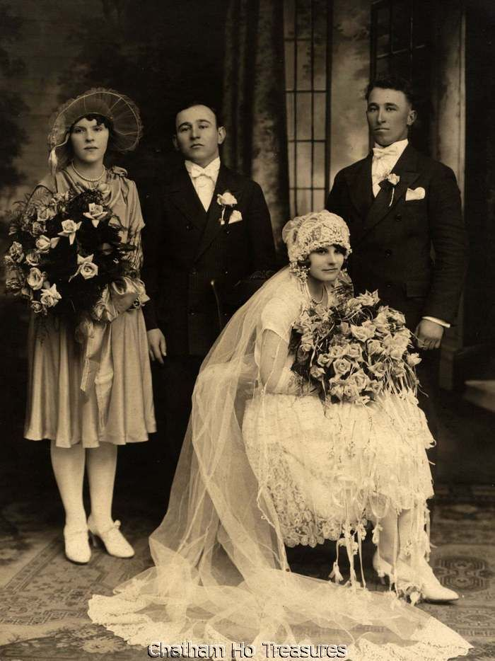 Beautiful 1920s Vintage Wedding Photo with Full Party Loads of Roses | eBay Could they just smile a little, maybe just a little!
