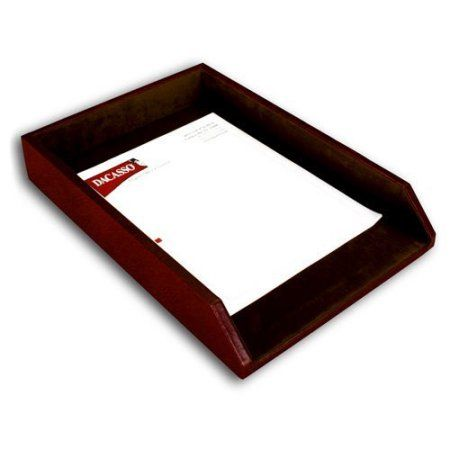 Mocha Leather Legal Letter Tray, Brown