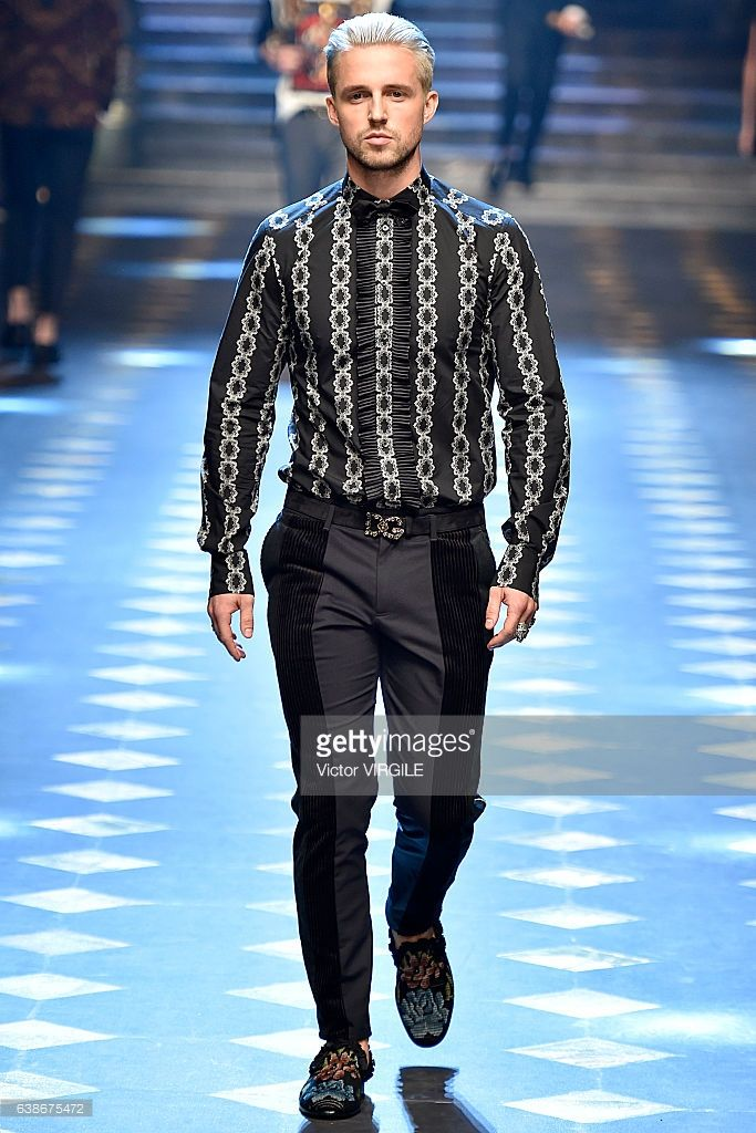 Marcus Butler walks the runway at the Dolce & Gabbana show during Milan Men's Fashion Week Fall/Winter 2017/18 on January 14, 2017 in Milan, Italy.