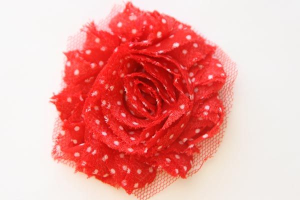Christmas Shabby Chic Flower Red with White Dots