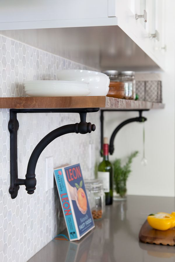 Restoration hardware brackets, hex tile backsplash