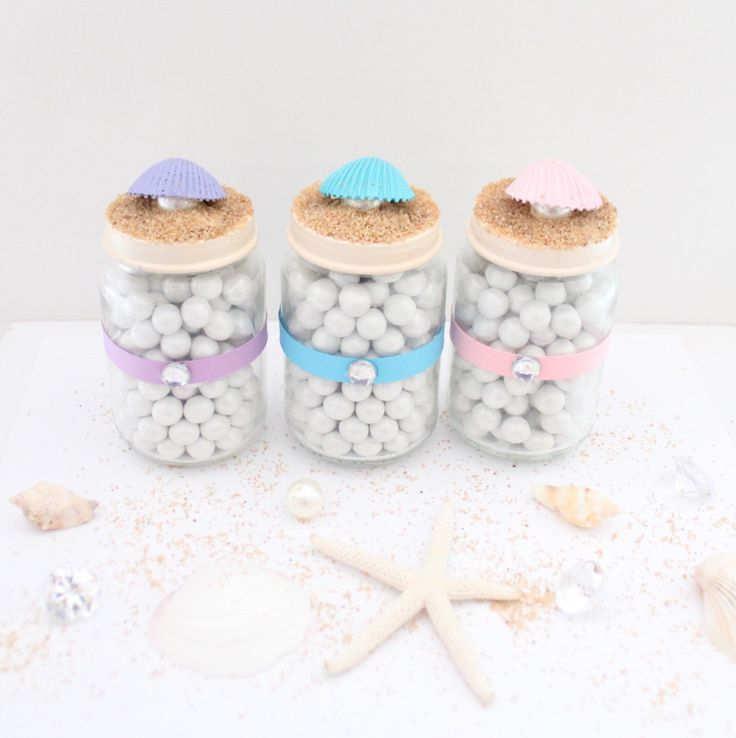 Mermaid Party/Beach Party Favor Glass Jar/Party Favors/Sea Shell Favor Jars - MULTIPLE OPTIONS AVAILABLE by ThePartyGirlStudio on Etsy https://www.etsy.com/listing/224161159/mermaid-partybeach-party-favor-glass