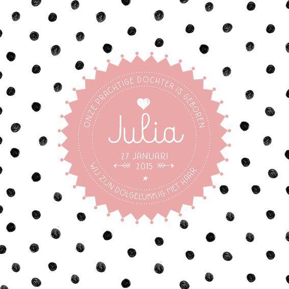 #geboortekaartje #wit #zwarte #stippen #roze #label #lief #meisje #Flair