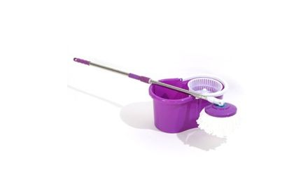 Easy Clean Spin Mop & Bucket Wringer & 2 White Cotton Mop Heads