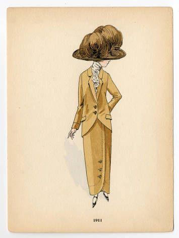 Women 1900-1914, Plate 142. Fashion plates, 1790-1929. The Costume Institute Fashion Plates. The Metropolitan Museum of Art, New York. Gift of Woodman Thompson (b17509853) | A hat, 1911. #fashion