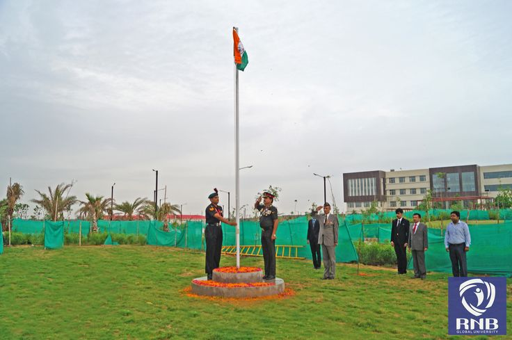 To commemorate the 69th #Independence Day of #India. RNB Global University celebrated this patriotic day with all the staff members, students and their parents at their campus situated in Khara Industrial Area, Bikaner. Major General J.K. Sharma, General Officer Commanding, was the Chief Guest for the occasion, who unfurled the National Flag, which was followed by singing the National Anthem and a march past by the students to the tunes of military band.  Www.rnbglobal.edu.in