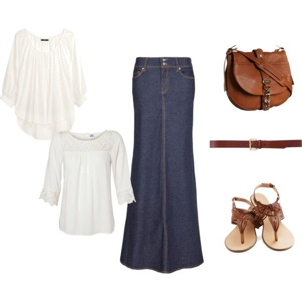 """Simple Spring/Summer Denim Skirt Modest Outfit Idea"" by hem-of-his-garment-ministries on Polyvore"