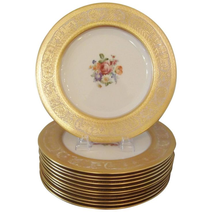 Gold Encrusted Floral Service Plates | From a unique collection of antique and modern dinner plates at https://www.1stdibs.com/furniture/dining-entertaining/dinner-plates/