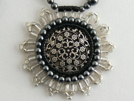 Button cabochon necklace  metal filigree. Hematite & by Evesbeads, $180.00