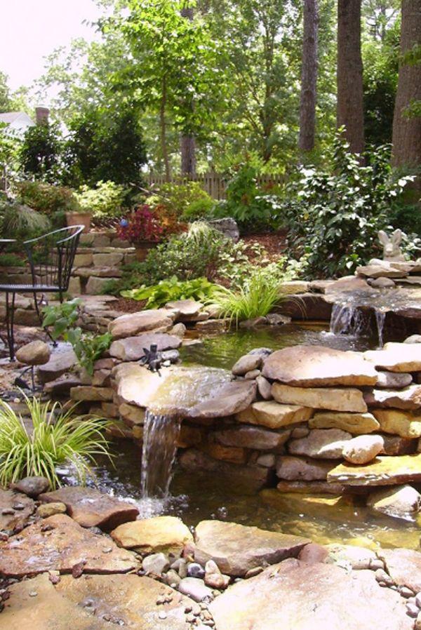 35 dreamy garden with backyard waterfall ideas