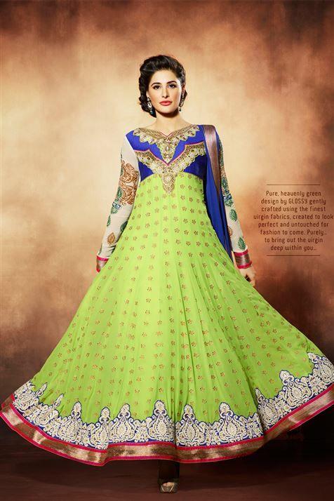 Charming Nargis Fakhri Blue, Lime Georgette Embroidered Long Floor Length Anarkali Suit