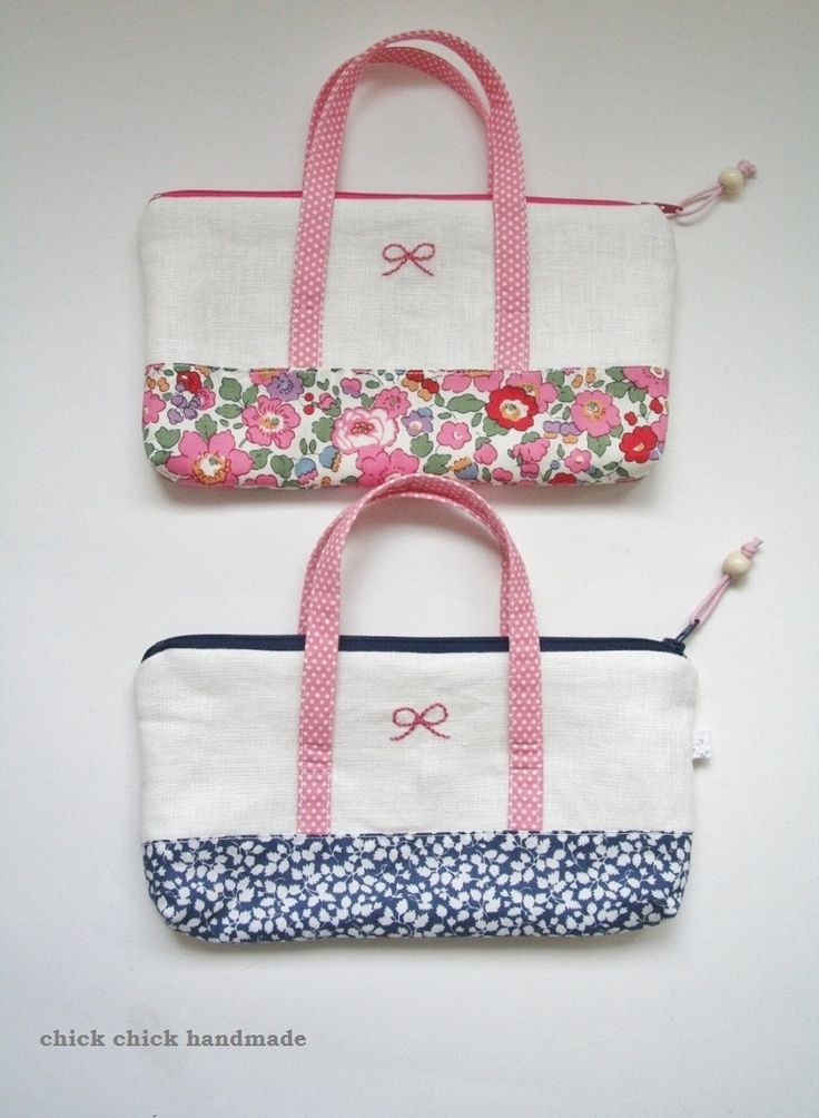 chick chick sewing: Liberty of London Carrying Pouches in my shop  リバティプリントの持ち手付きポーチをハンドメイド