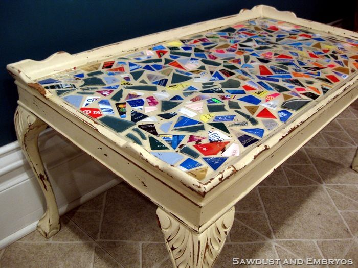 DiY Credit Card Mosaic Epoxy Table