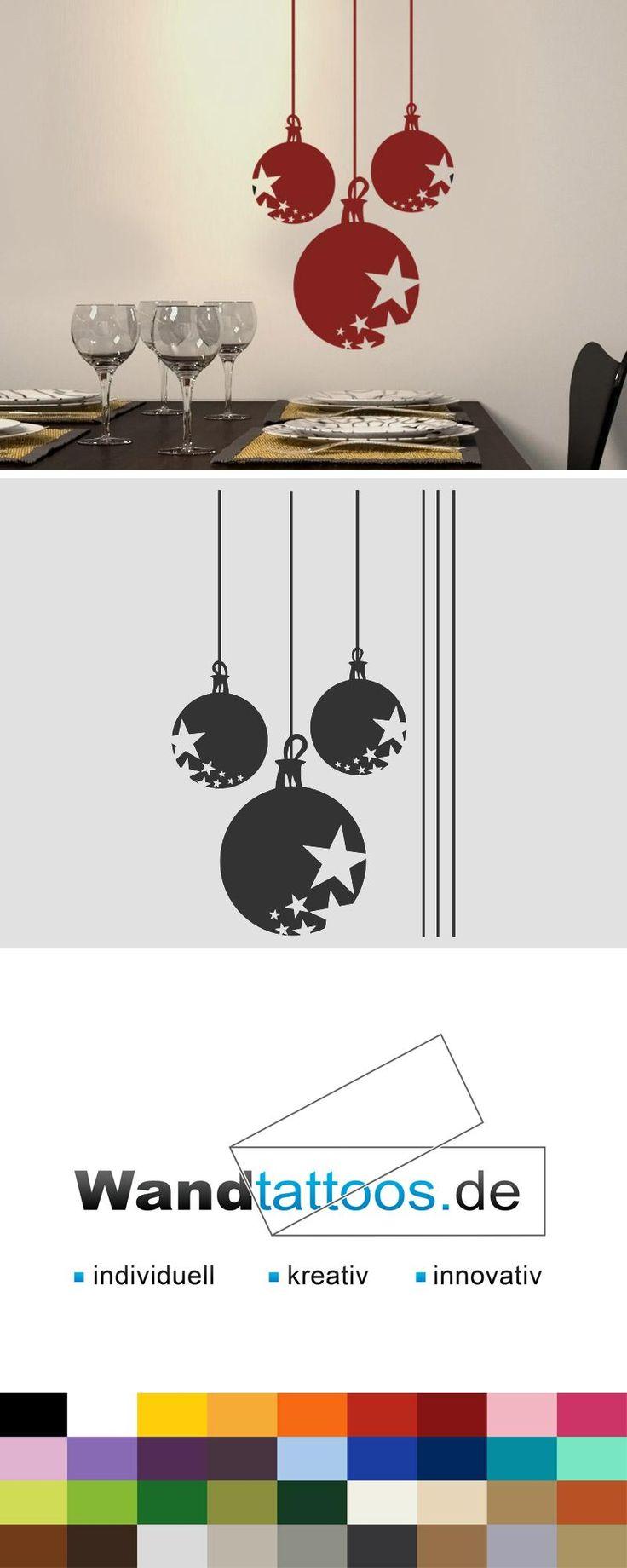 Wandtattoo Festliche Weihnachtskugeln als Idee zur individuellen Wandgestaltung. Einfach Lieblingsfarbe und Größe auswählen. Weitere kreative Anregungen von Wandtattoos.de hier entdecken!
