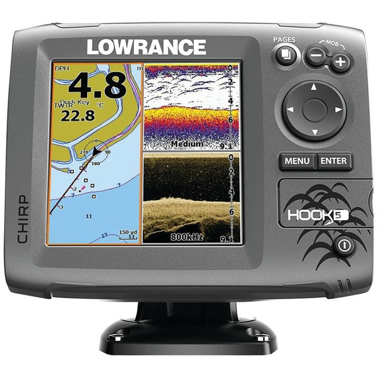 Lowrance Hook5 Mid And High And Downscan Fishfinder