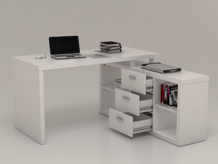 bureau d 39 angle avec rangements aldric blanc prix promo. Black Bedroom Furniture Sets. Home Design Ideas