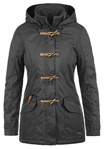 DESIRES Brooke Damen Parka Dufflecoat lange Winterjacke mit Kapuze aus hochwertigem Material Größe:XL Farbe:Dark Grey (2890)