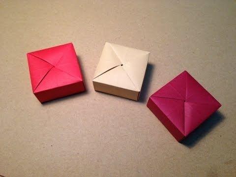 折り紙(おりがみ) 入れ物 箱の折り方 作り方 一枚折 - YouTube