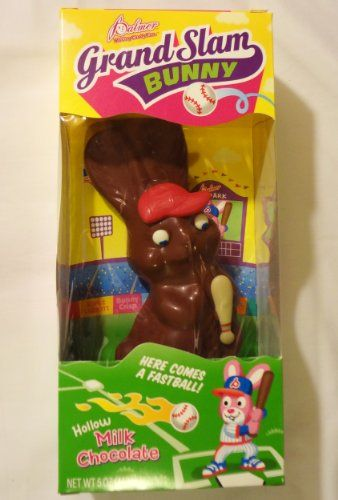 """Palmer """"Grand Slam Bunny"""" (Aka """"Slugger"""") Hollow Milk Chocolate Candy Easter Bunny Rabbit Baseball Player with a Bat and Wearing a Red Hat. Net Wt 5 Oz (142g). - Brand New in Package! - Proudly Manufactured in the USA By R. M. Palmer Co.! - Great Gift Idea for ANY Occasion (Valentine's Day, Easter, Halloween, Christmas, Holidays, a Birthday, Etc.)! - Item # 4063612 - UPC Code: 041269406363. - http://www.specialdaysgift.com/palmer-grand-slam-bunny-aka-slugger-hollow-milk-choco"""