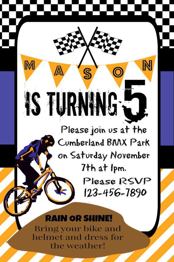 boy u0026 39 s birthday party invitation  dirt bike theme party  bmx party  mountain bike party
