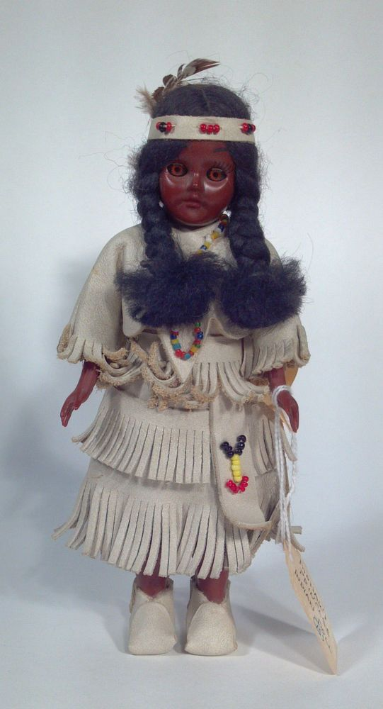 """US $13.99 Used in Dolls & Bears, Dolls, By Brand, Company, Character  $14 M9 Carlson Dolls 7"""" Mohawk Princess Indian American Heritage Doll Sleep Eyes"""