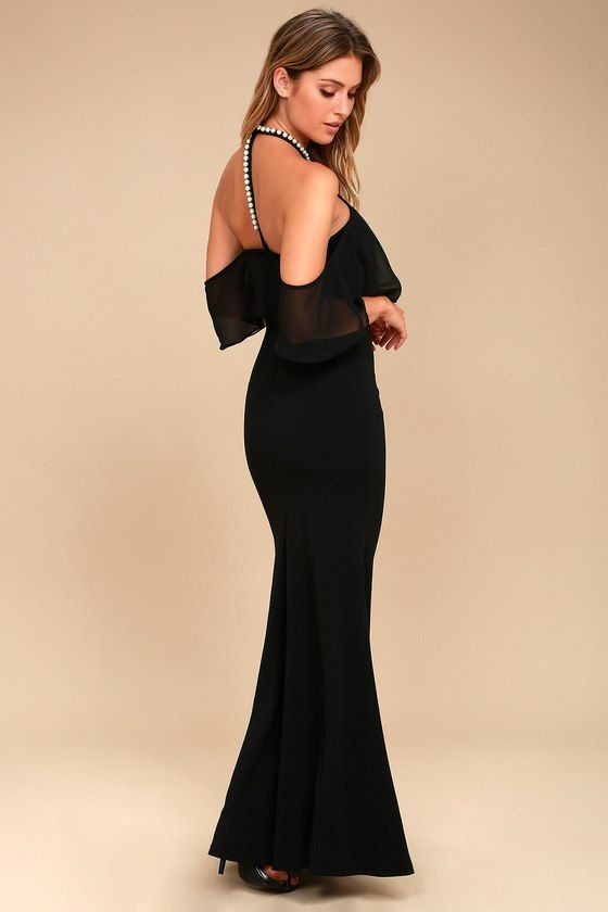 Lulus Exclusive! Trust your intuition, choose the Pearls of Wisdom Black Pearl Off-the-Shoulder Maxi Dress! Medium-weight stretch knit fabric falls from a modified halter neckline, adorned in stunning faux pearls, into a woven off-the-shoulder flounce bodice. Figure-skimming mermaid maxi skirt, and matching pearl T-back with clasp closure. Hidden side zipper/clasp.