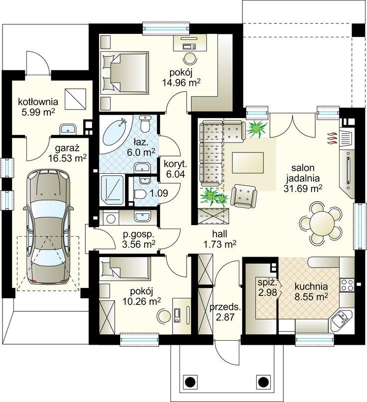 Gacek projekt - Parter 95.72 m²  + garaż 16.53 m²