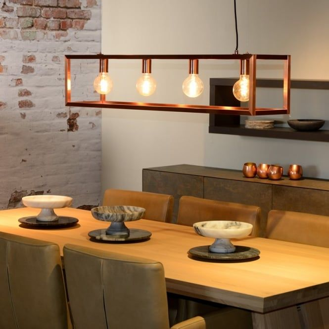 Th ORIS Pendant 4 Light Island Bar With Copper Finish Is
