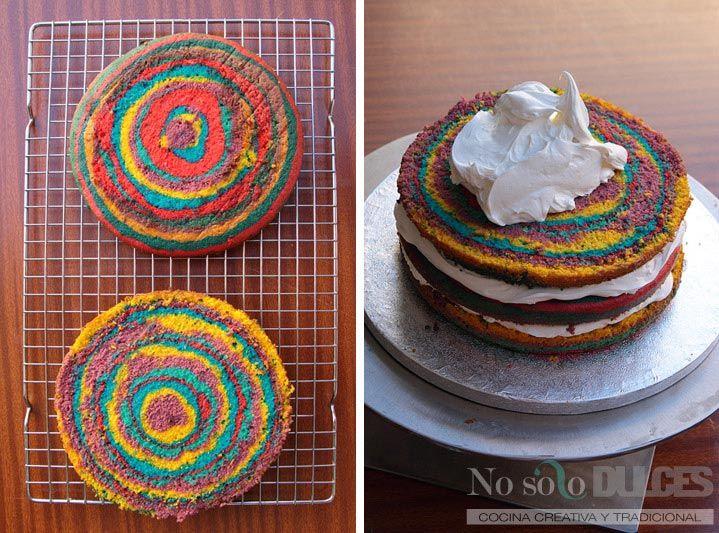 No solo dulces tarta fondant hippie colores flores