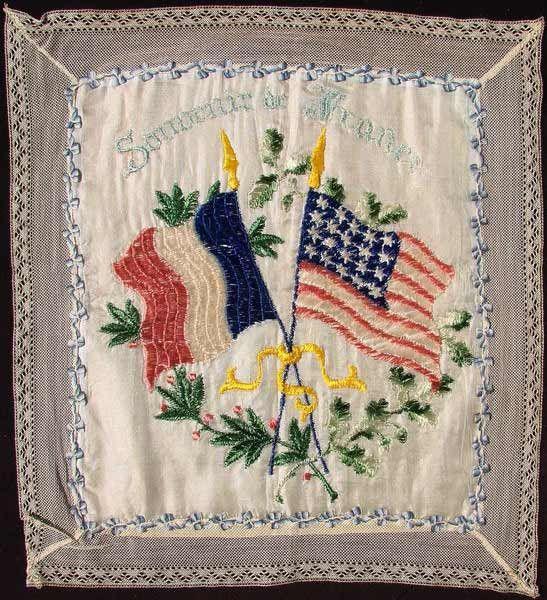 Vintage WWI Patriotic United States & France Souvenir Cushion Cover