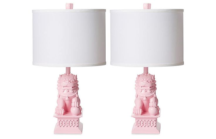 S/2 Mini Foo Dog Table Lamps, Candy Pink - Table Lamps - Indoor and Outdoor Lighting - Lighting   One Kings Lane