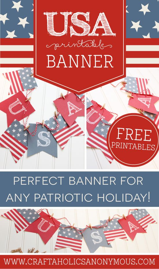 Perfect for all the patriotic holidays! This Free Printable Patriotic Banner can stay up all summer long! | Craftaholics Anonymous®