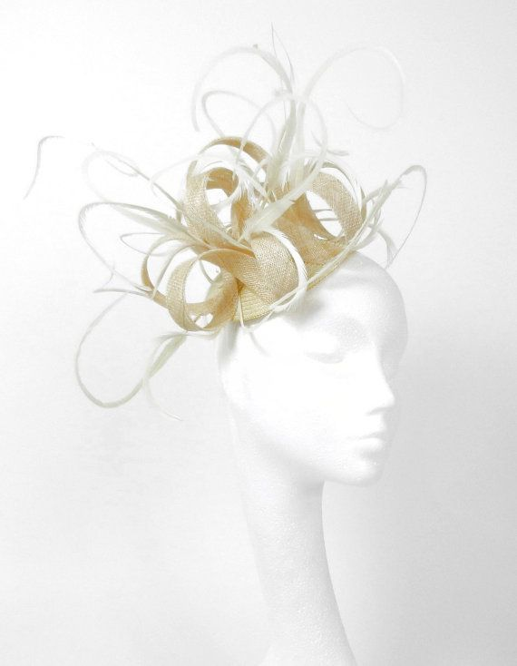 Cream  Fascinator Hat for Kentucky Derby, Weddings and Christmas Parties. $90.00, via Etsy.