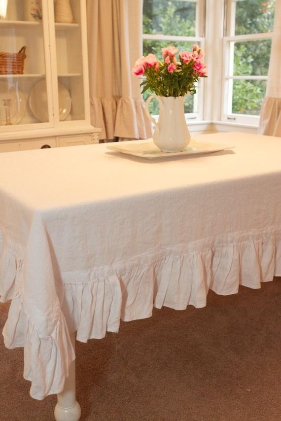 white linen tablecloth, single ruffle. handmade by ruffledlinens- awesome seller!