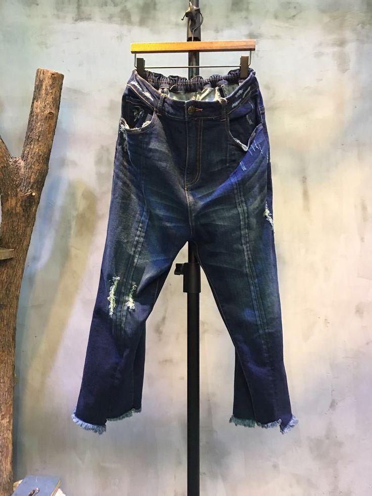 Street Fashion Raw Hem Baggy Denim Pants Cheap Ripped Jeans  #denim #pants #jeans #trousers #ripped #rawhem #cheap #baggy #wholesale #amazing #fashion #street