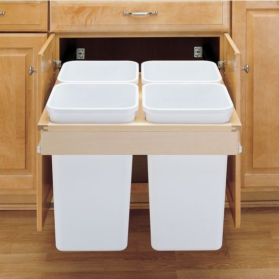 Rev a Shelf Pullout Bins | Remodelista. The Rev-A-Shelf Pull-Out Top Mount Waste & Recycling Bins unit, with four 27-quart containers, is $157.93 from KitchenSource.com.