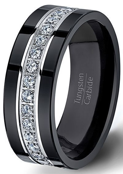 Black Tungsten Ring Fully Stacked With Brilliant Diamond Mens Wedding Band Comfo…
