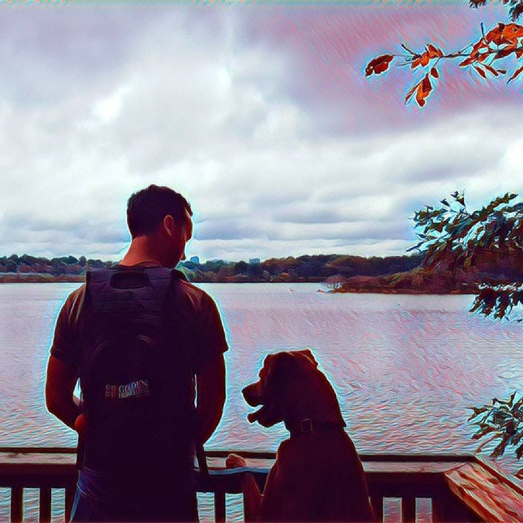 David & Juno looking over the water from the trails at #royalbotanicgardens on a #Thanksgiving hike.