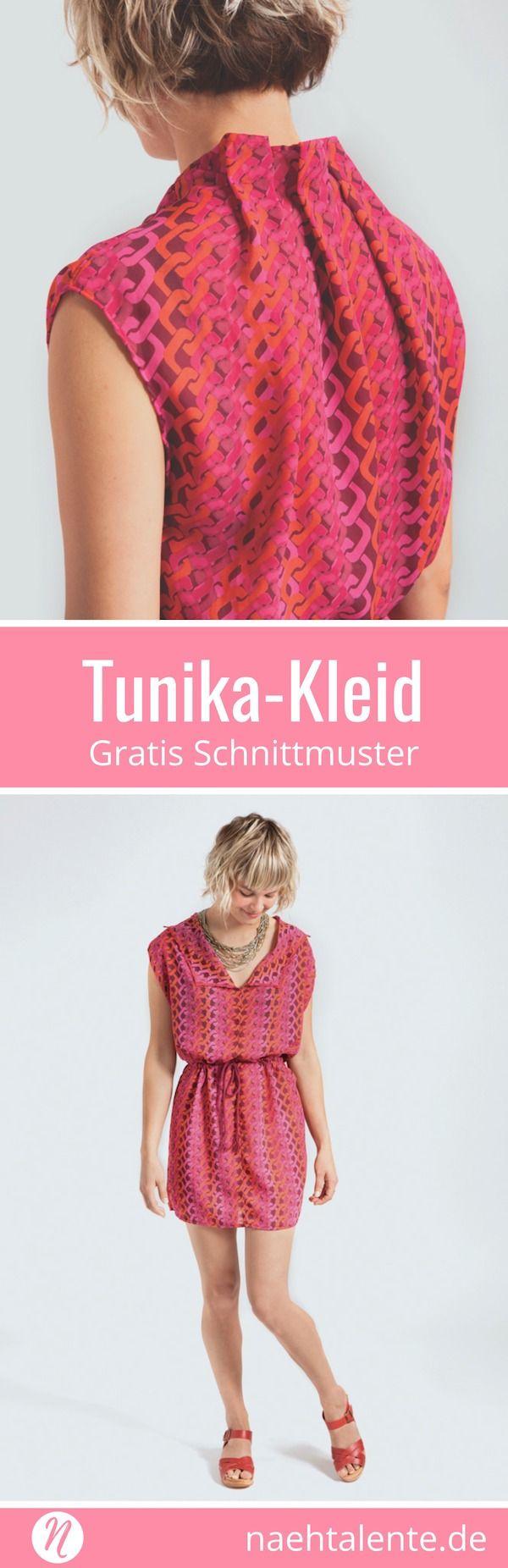 Einfaches Tunika-Kleid für Damen Gr. S/M für leichte Webware
