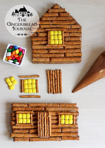 log cabin gingerbread house-tutorial for pretzel and gingerbread house, www.gingerbreadjournal.com