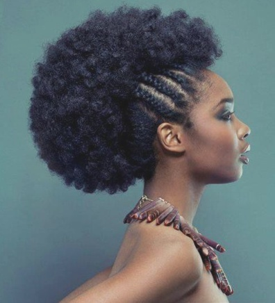 Side braided afro